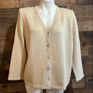 Vintage Gold Beige Metallic Knit Dressy Sparkly Sequin Cardigan Sweater Size XL